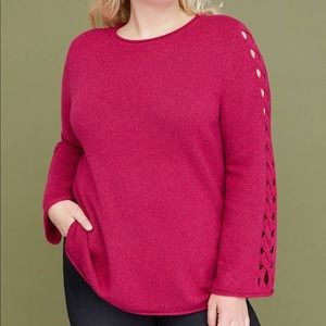 LANE BRYANT PINK LATTICE SLEEVE SWEATER